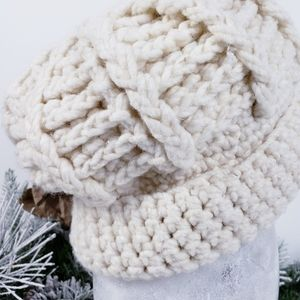 Hand Knit  - Wool Chunky Knit Beanie Winer Hat